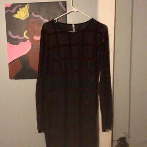 Black and burgundy sheer dress